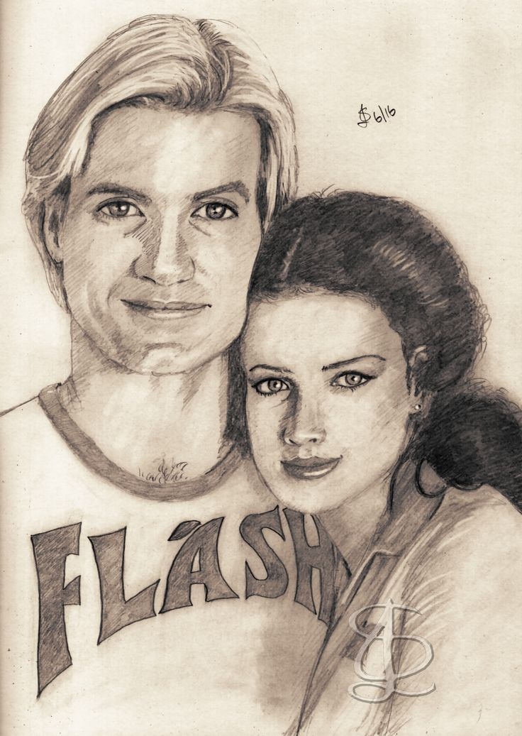 Sam J Jones as Flash Gordon and Melody Anderson as Dale Arden. Freehand sketch using HB pencil and eraser. Darkened and tinted digitally.