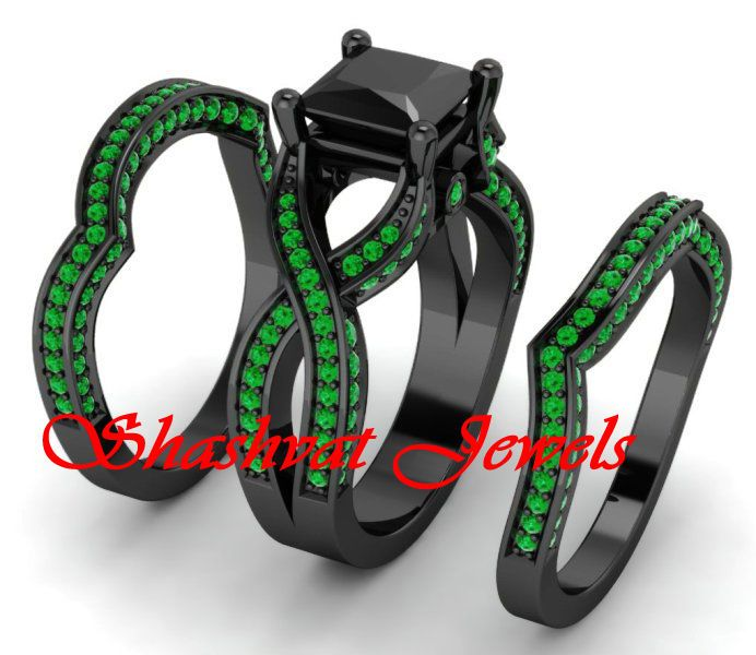 6 22ct Green Black Solitaire Engagement Wedding Ring Set 925 Silver Free Giftt