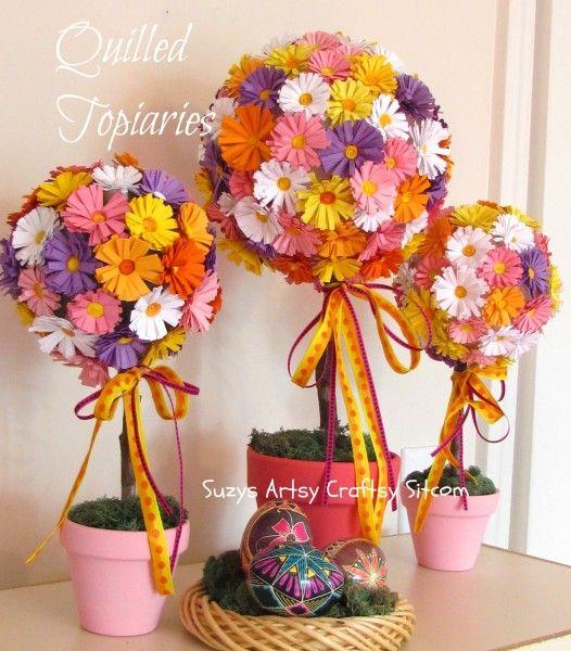 Quilled Topiaries how to (note: for fast decoration use small silk flowers)
