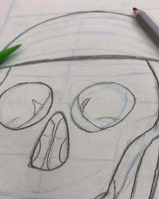 Construction drawings are the work of the devil...  #Skull #Drawing #Art #Construction #BlueLines