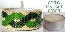 CELTIC BEADED TEA LIGHT CANDLE COVER by Suzanne Cooper