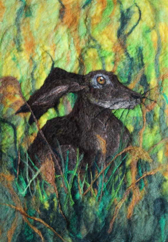 Hare In The Long Grass on yellow, felted picture, mounted ready to frame.