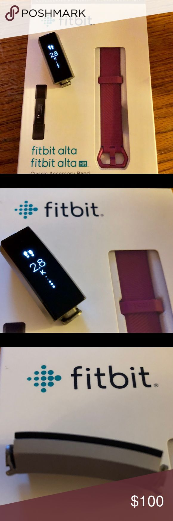 🌟Fitbit Alta-  (LARGE)⌚️ Fitbit Alta pebble in EUC. Wristband is brand new. Tracker works perfectly fine. No damage or major visible scratches. Minor signs of wear on tracker pebble only.  This Fitbit does NOT have the HR feature.  What's Included:  •Fitbit Alta tracker •Alta classic wristband (Brand new) •Charging cable •Wireless sync dongle   Syncs with Mac OS X 10.6 and up, iPhone 4S and later, iPad 3 gen. and later, Android 4.4 and later, and Windows 10 devices. Fitbit Other