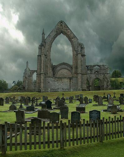 Bolton Abbey ruins and graveyard - North Yorkshire, England.