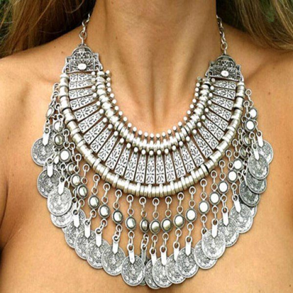 $8.02 Exaggerated Coin Shape Tassels Multi-Layered Necklace For Women
