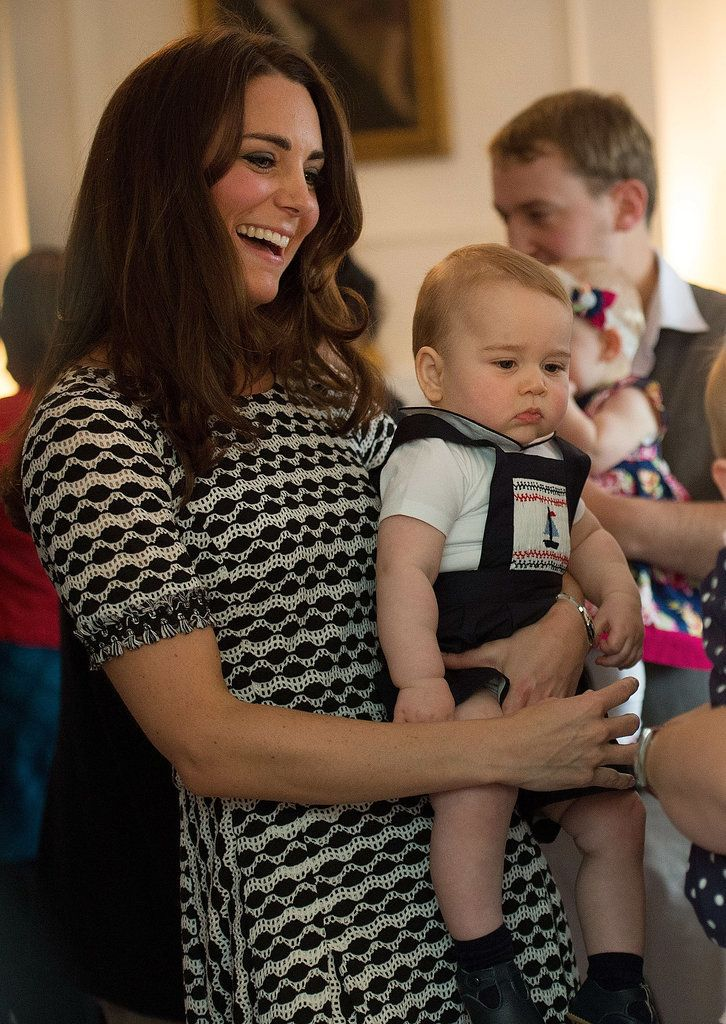 kate middleton (in tory burch) + prince George  He just looks like a little prince!