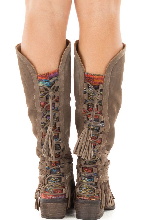 Taupe Suede Leather Boot with Multicolored Knit Contrast - Lime Lush Boutique
