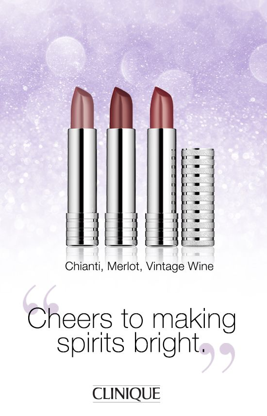 Make her 'spirits' bright with #Clinique Long Last Lipstick in Chianti, Merlot or Vintage Wine. #Gifts #Holiday #Makeup #Beauty #Lipstick