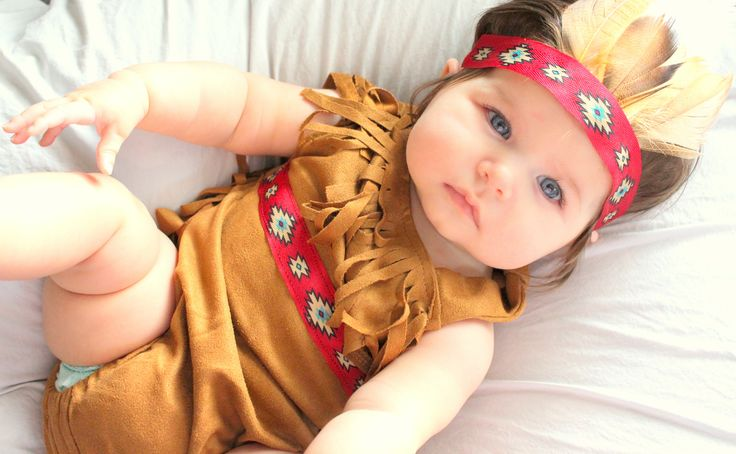 Indian baby costume, feather headpiece