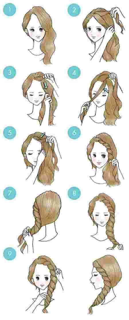 femme dessinée coiffant une tresse frontale