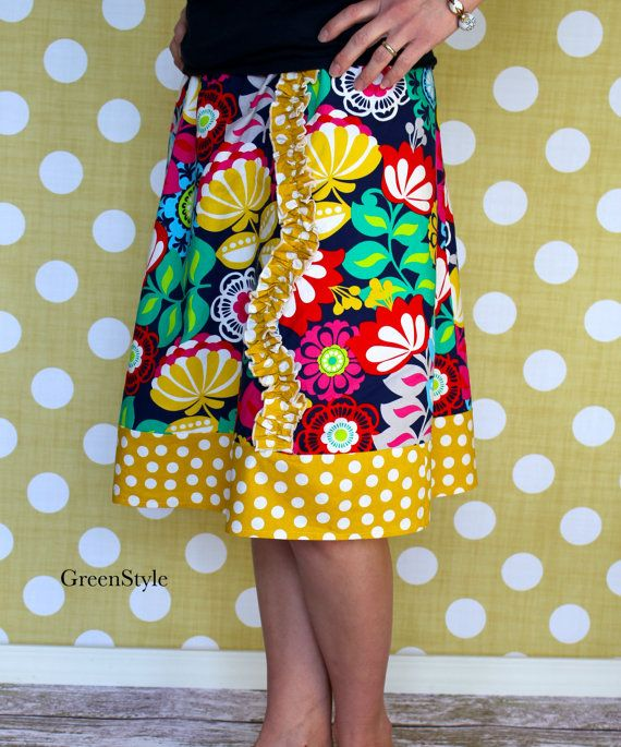 Floral and Mustard Yellow Polka Dot  A line Skirt by Gogreenstyle, $43.00