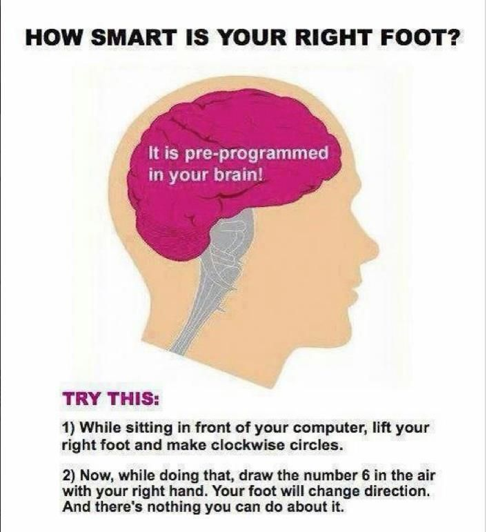 Tried it. Foot definitely changed directions. WHAT!