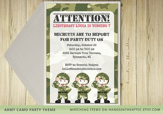 Army theme birthday party camo party camouflage theme military invite template printable invitation DIY army printable DIGITAL file by HandsInTheAttic