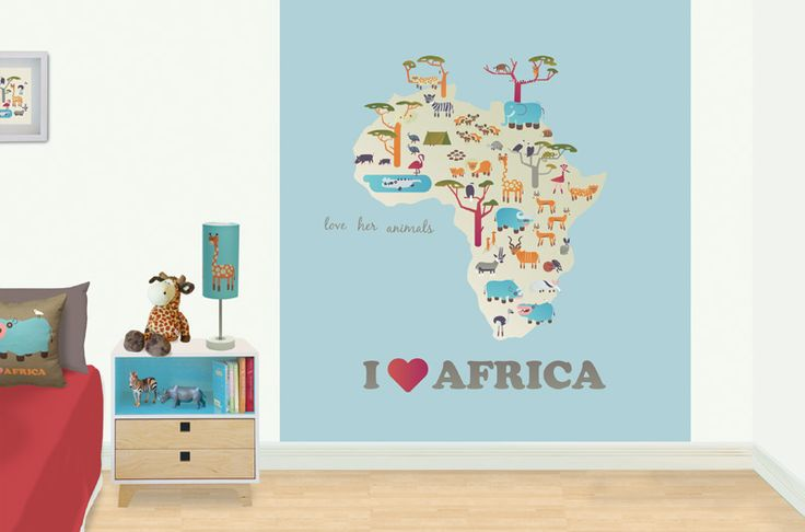 I love Africa - kid's bedroom mural.