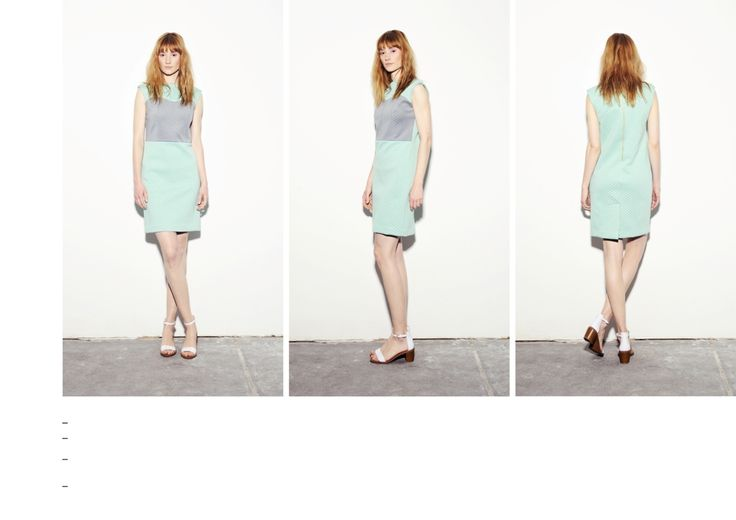 Textured mint-grey scuba dress with decolettage detail