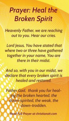 Prayer for healing the broken spirit