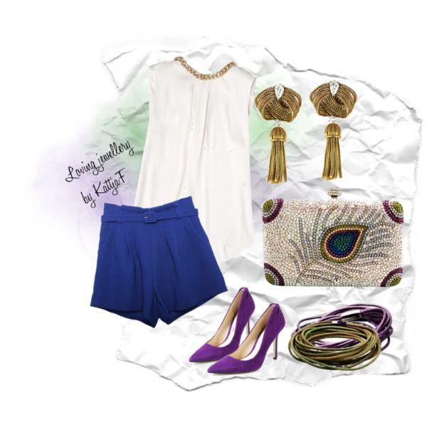 """""""Clutch, STORY and gold earrings with cobalt and violet"""" by kattjaf on Polyvore"""