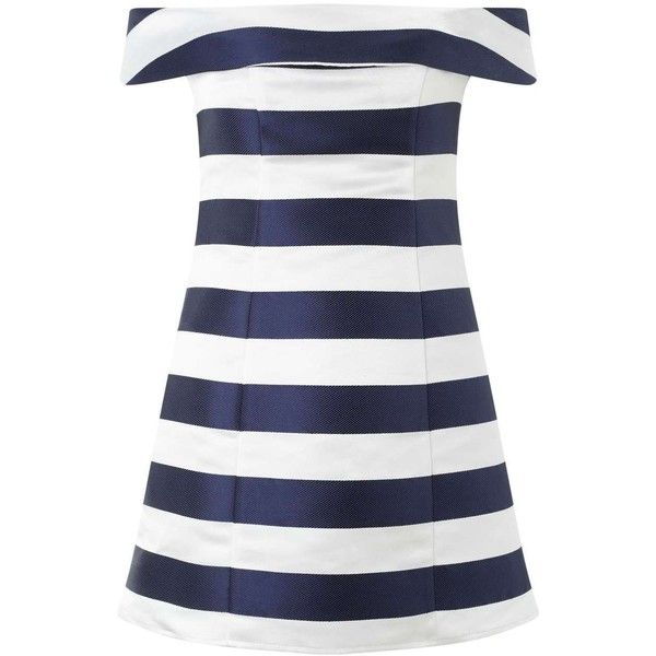 Miss Selfridge Petites Stripe Bardot Dress ($26) ❤ liked on Polyvore featuring dresses, ivory, petite, striped summer dress, holiday party dresses, party dresses, winter white dress and nautical dresses