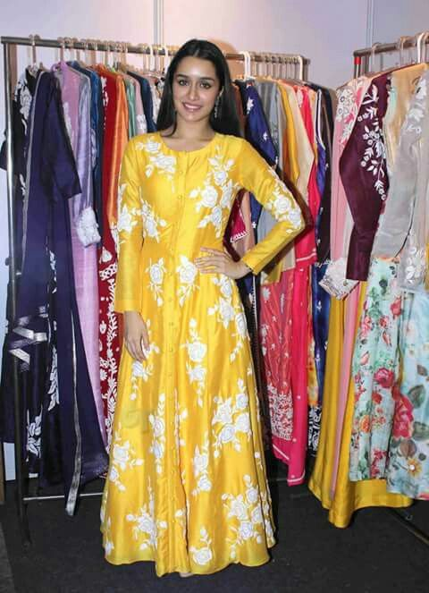 Shradha Kapoor in yellow indo western outfit. .