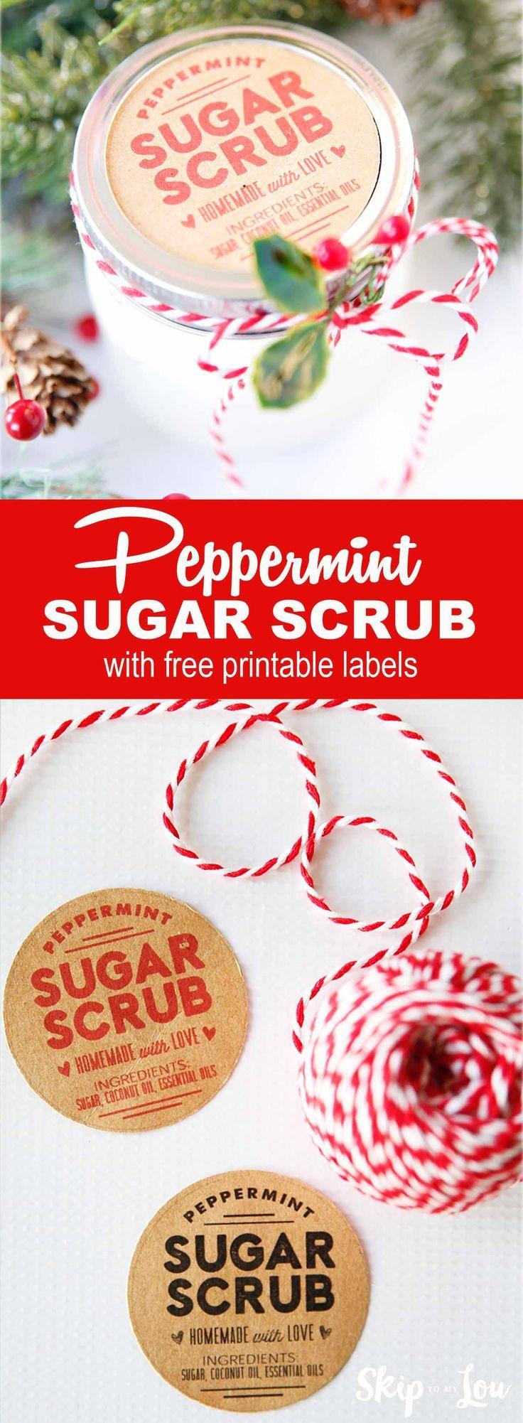 Peppermint sugar scrub recipe! Perfect for a handmade or homemade gift idea. #recipes #giftidea #spa
