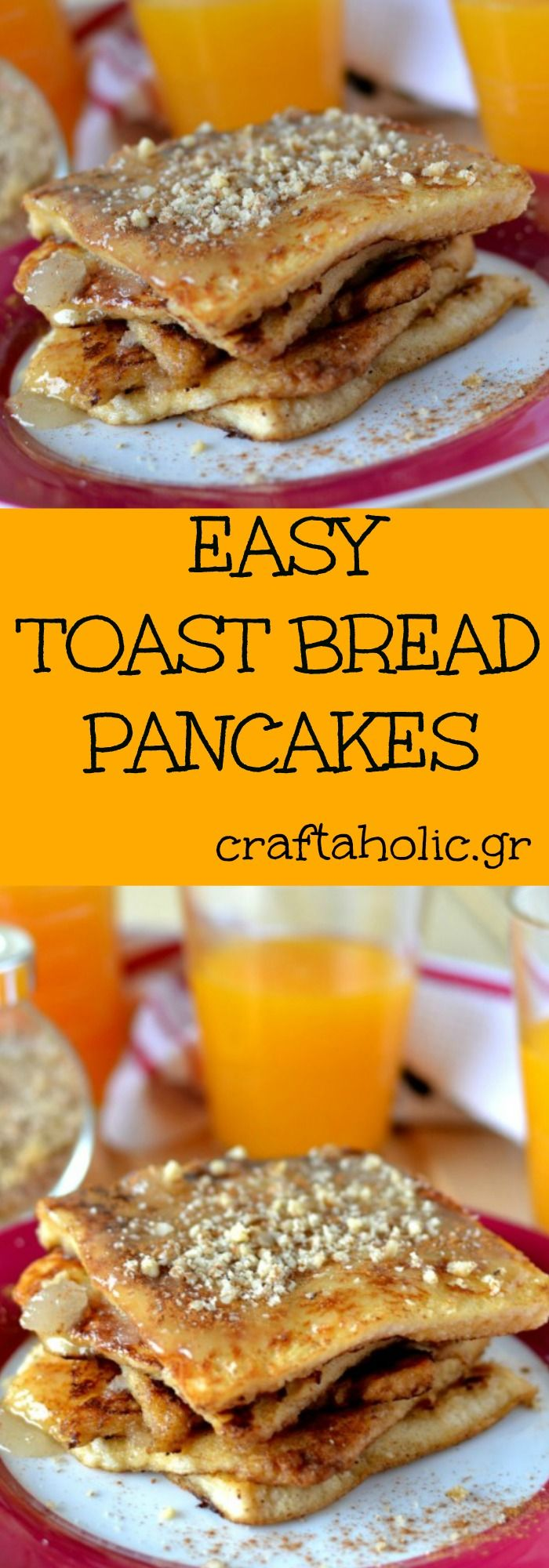 The easiest pancakes ever! Made from scratch of course! You only need toast bread, some milk and eggs and they are ready in just a few minutes. This is our favorite recipe for breakfast and brunch!