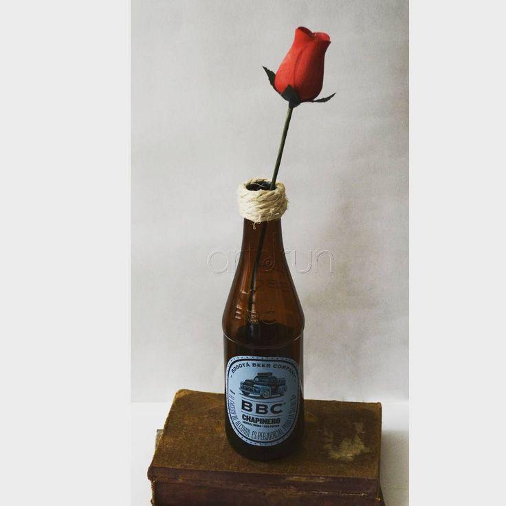 Botella de cerveza reciclada
