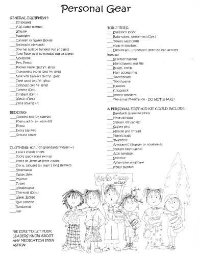 Best Girls Camp Packing List Images On   Young Women