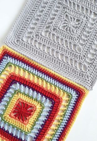 """Spincushions: Melbourne - free 12"""" crochet square pattern by Shelley Husband. Friends Around the World CAL. the grey"""