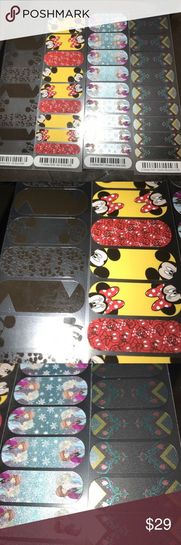 Jamberry Disney Lot Mickey frozen nail stickers Disney Jamberry Lot  1/2 sheets quantity 4  Oh boy!  Black and clear Mickey  Ear to ear Mickey Minnie  Frozen in time Anna Elsa  Nordic blossoms Makeup
