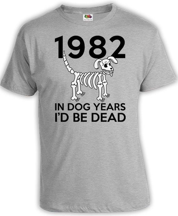 Funny Presents For Her Part - 26: Birthday Shirt Funny Birthday TShirt Gifts For Him Bday Presents For Her In  Dog Years Iu0027d Be Dead 1957 Birthday Mens Ladies Tee