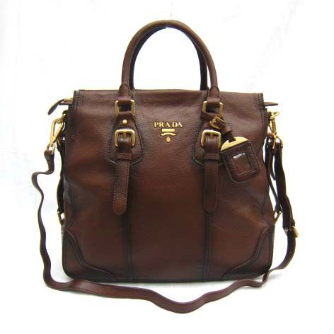 3bed93c1c257 iOffer  New Prada Real Leather tote shoulder Handbag brown bag