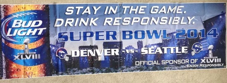 HUGE Seattle Seahawks Bud Light Banner Super Bowl 2014 48 XLVIII 12 Feet Long  #BudLight #SeattleSeahawks