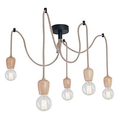 suspension wood marron clair et noir 5 x e27 40w 50 x 80 cm ambiance espaces pinterest. Black Bedroom Furniture Sets. Home Design Ideas