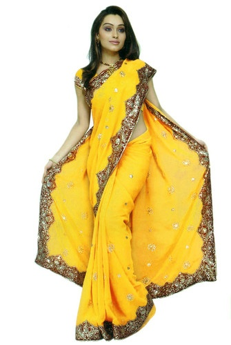 Yellow NW Bollywood Sequin Embroidery Sari Saree Costume Boho DANSE Du VENTRE   eBay. I want to use this as a bed canopy