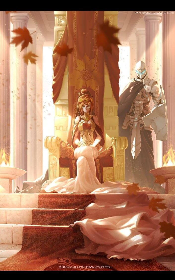 Pyrrha Nikos the Fall Maiden, and Jaune Arc her guardian. Art by Dishwasher1910
