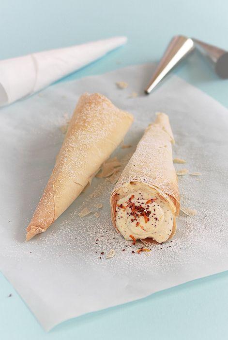 coni di pasta fillo ripieni di ricotta dolce #recipe #juliesoissons