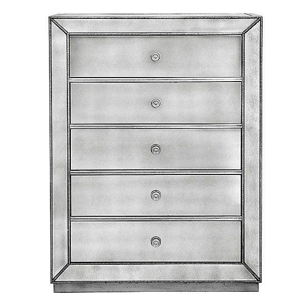 Omni Mirrored 5 Drawer Chest Mirrored Furniture Mirror Drawers Dresser With Mirror
