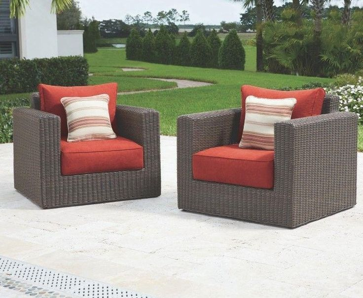 Home Decorators Collection Naples Brown Patio Lounge Chair With Spice  Cushions (2 Pack)