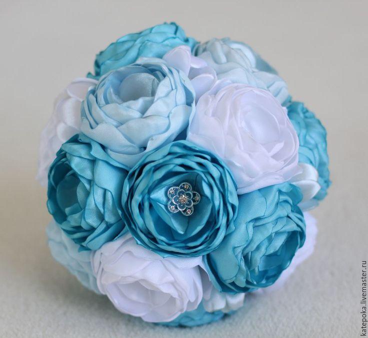 Купить Свадебный букет невесты, брошь-букет из пионов - бирюзовый, голубой, белый, брошь-букет