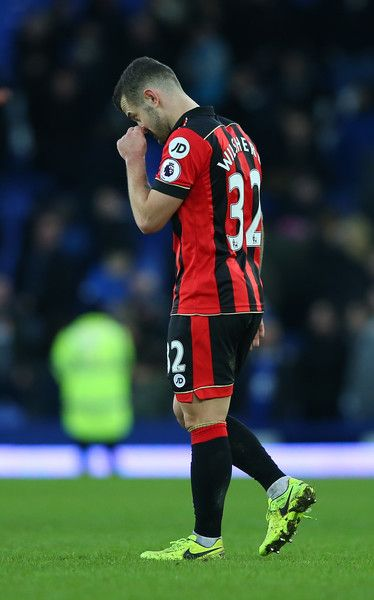 Jack Wilshere Photos Photos - Jack Wilshere of AFC Bournemouth is dejected after the Premier League match between Everton and AFC Bournemouth at Goodison Park on February 4, 2017 in Liverpool, England. - Everton v AFC Bournemouth - Premier League