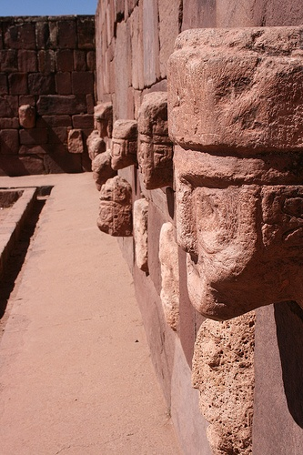 UNESCO World Heritage Site. Tiwanaku (Tiahuanaco). Astrogeographical location of the temple area in the royal fire sign Leo indicator of a Sun temple (solar deity) with the spiritual water sign Pisces for radius/field level 3 which descibes how the temple area is embedded in the city. BOLIVIA