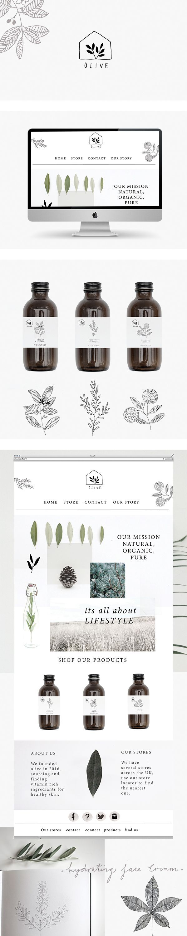 Branding and website for olive skincare by Ryn Frank logo design minimalist icon line drawing illustration packaging bottle: