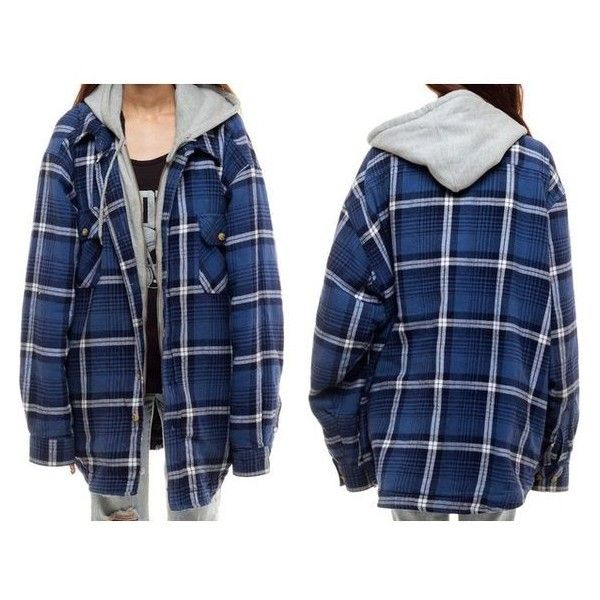 Hooded Flannel Shirt PLAID Jacket 90s Grunge Hood Oversized Quilted Lu ❤ liked on Polyvore featuring tops, hoodies, hooded sweatshirt, hooded flannel shirt, blue flannel shirts, plaid shirts and blue shirt