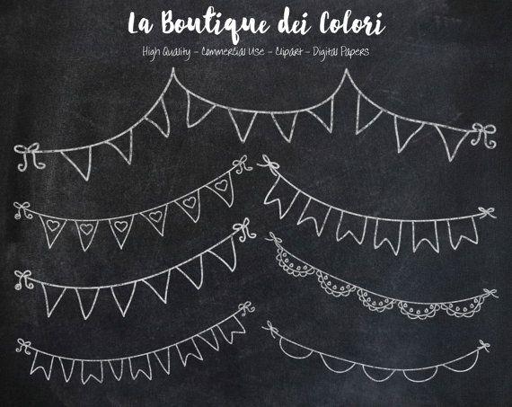 Banner di Bunting lavagna doodle cliparts di LaBoutiqueDeiColori