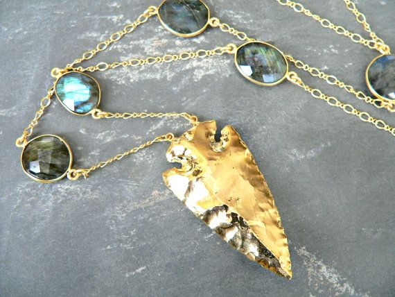 Apache II Arrowhead Labradorite Necklace by KattilacGems on Etsy