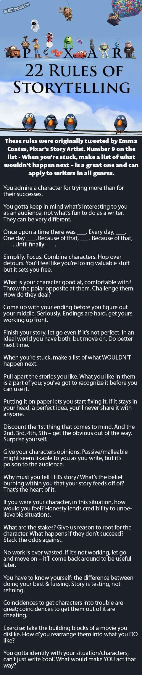 Pixar's Rules Of Storytelling… - Let's turn that frown upside down !