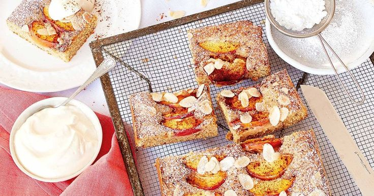 Serve this delicious nectarine slice with icing sugar to dust and a dollop of whipped cream.
