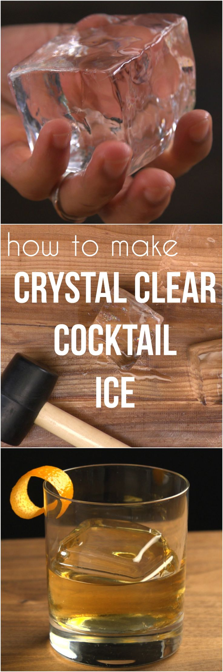 Shake up your bartending game (or stir it up, if you prefer) with a glassy rock of perfectly clear ice. Artisanal ice cubes are making a splash in the craft cocktail world — and when you try a drink with ice cubes that aren't cloudy, the difference will be crystal clear. We'll show you a surprisingly simple and inexpensive way to make flawless cocktail ice at home.