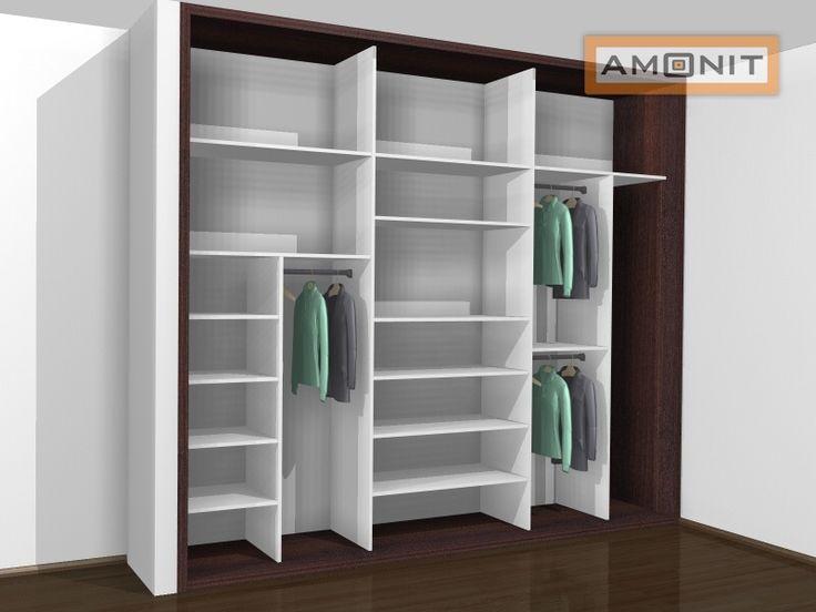 Ukázka vnitřního uspořádání vestavěné skříně - 19. varianta