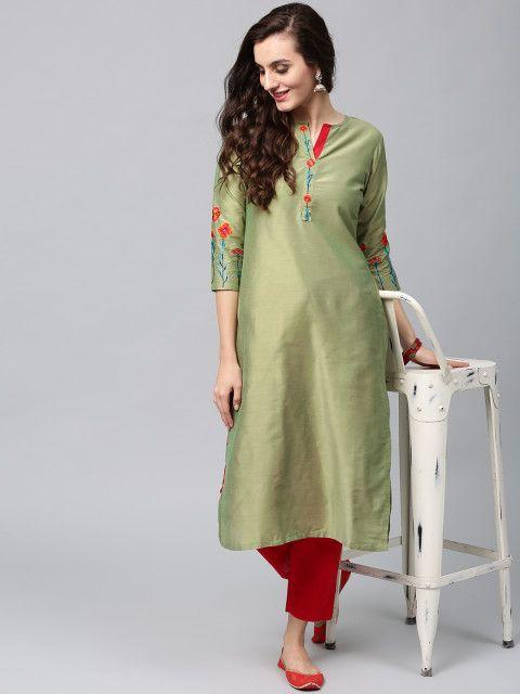 1cec9b84c95 Buy AKS Women Green Embroidered Straight Kurta - Kurtas for Women 2167400